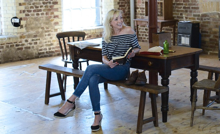 Theatre Royal Bath Rehearsals May 2016 After Miss Julie by Patrick Marber Directed by Anthony Banks Helen George/ Miss Julie Richard Flood/ John Amy Cudden/ Christine Peter Bradley / Assistant Director Cassis Gallagher / Deputy Stage Manager ©NOBBY CLARK +44(0)7941-515770 +44(0)20-7274-2105 nobby@nobbyclark.co.uk