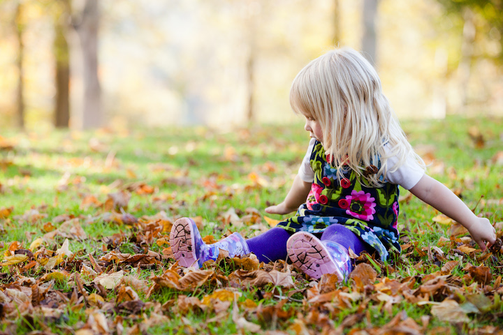 A young child playing in the autumn leaves in the woodlands at Cliveden, Buckinghamshire.