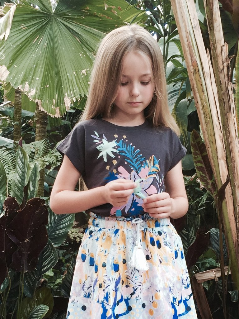 pretty young girl modelling surrey fashion label in tropical garden