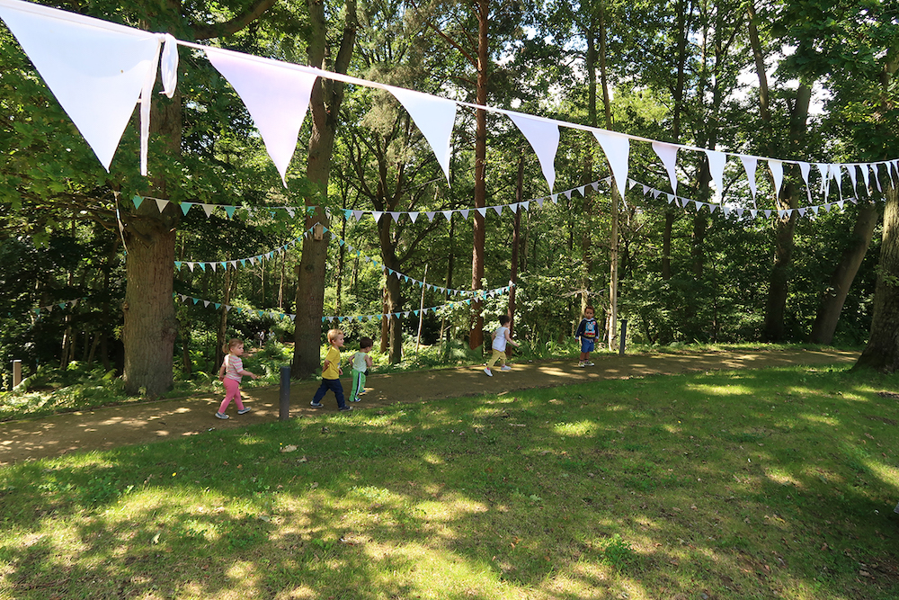 Watts Gallery, woodland walk with bunting, Compton Surrey