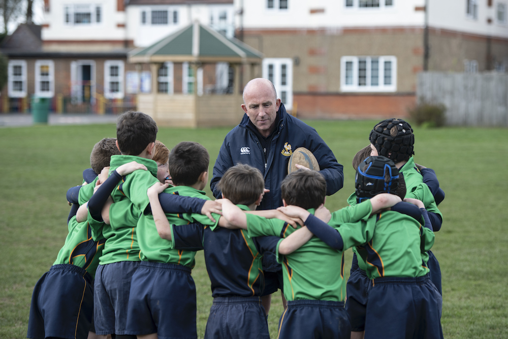 The rugby team at Chinthurst School, Tadworth