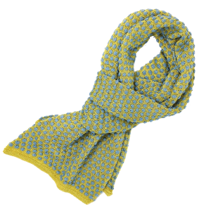 Hand knitted scarf, yellow and grey