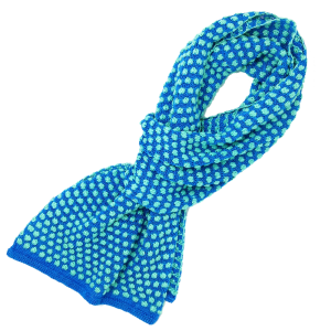 Hand knitted scarf, light blue with teal spots