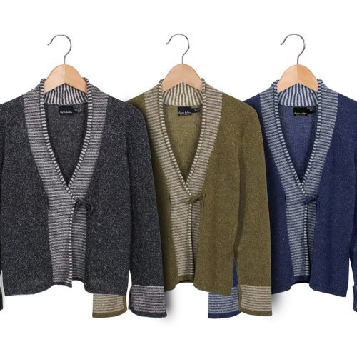 Susan Holton Knitwear, cardigans in grey, olive green and blue