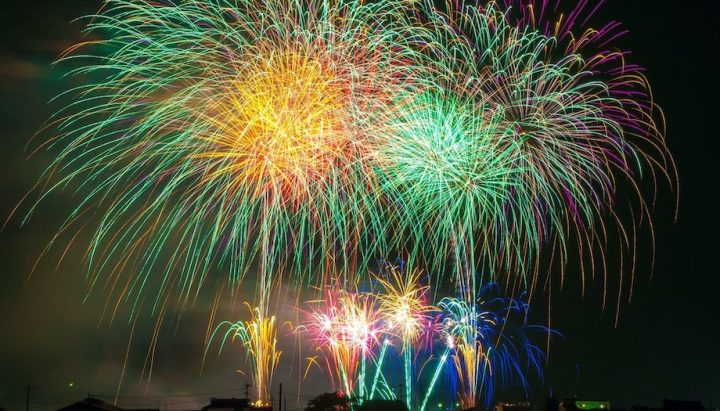 Colourful fireworks in night sky