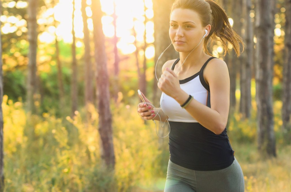 Girl running outdoors