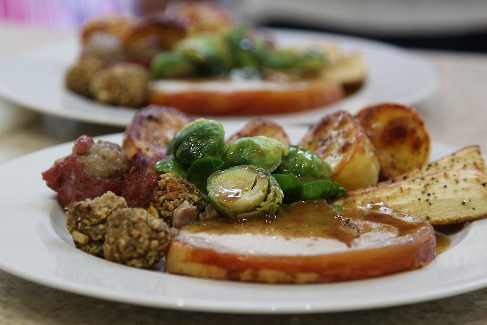 Christmas dinner, roast dinner with potatoes, turkey, stuffing and sprouts