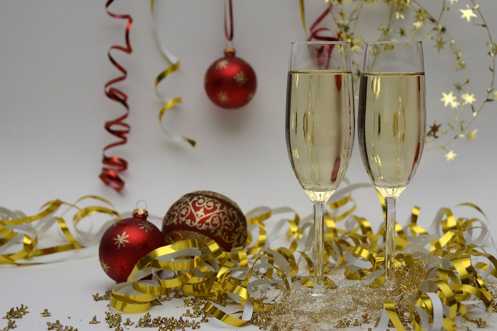 Christmas festive fizz, sparking wine with glitter and baubles