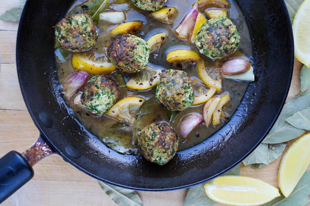 Vegan Supergreen Meatballs with a bay and lemon sauce by Surrey chef Laura Scott.
