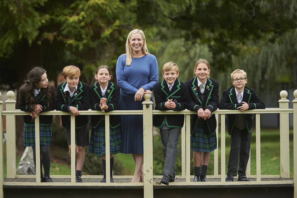 Pupils and head teacher Aislinn Clarke at Ripley Court School, Ripley Surrey