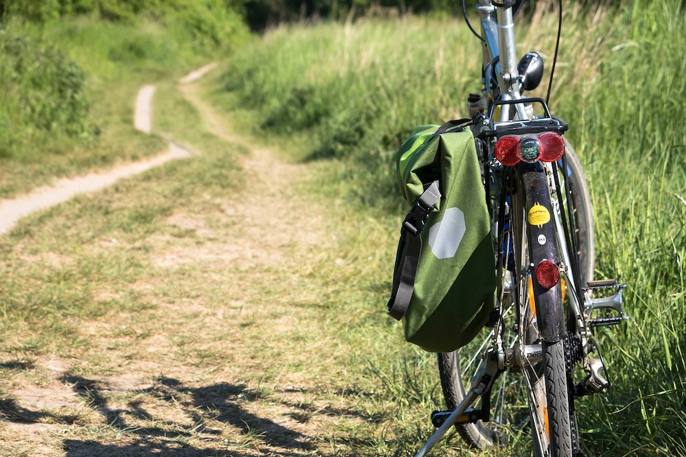 cycling on a country path